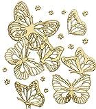 Rayher 3358406 Klebemotiv 3D: Schmetterlinge, Bogen 10x24,5 cm, gold
