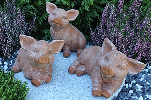 Steinfigur Schwein 3er Set, Ferkel, Gartenfigur Steinguss Tierfigur Terrakotta Patina