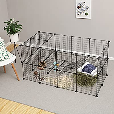 SONGMICS 2-Floor Pet Playpen, Customisable Pet Cage Enclosure, for Small Animals Guinea Pigs, Includes Rubber Mallet, Indoor Use, 143 x 73 x 71 cm, Black LPI02H by Songmics