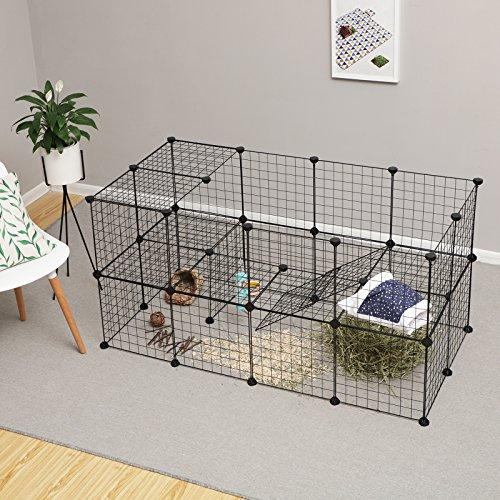 SONGMICS Enclos modulable pour Petits Animaux, Cage intérieur, 2 Niveaux, Maillet en Caoutchouc Offert, Cochon d'Inde, Lapin, Assemblage Facile, 143 x 73 x 71 cm (L x l x H), Noir LPI02H
