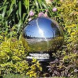 Köhko 30 cm Kugelbrunnen Hochglanz poliert 21003 aus Edelstahl mit LED-Beleuchtung