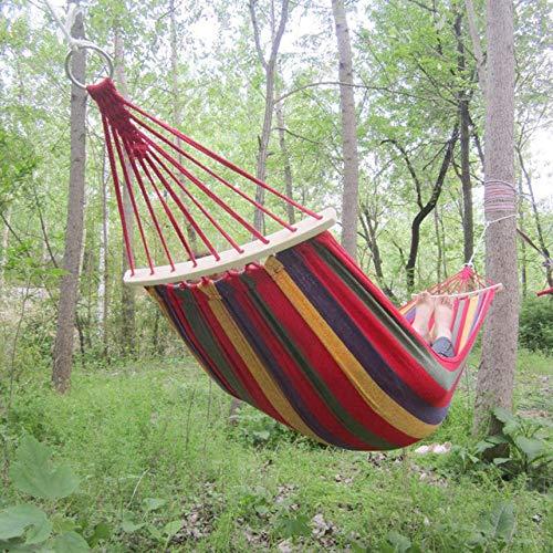 Kpdar Hängematte Outdoor Schlafen Camping Tragbares Zuhause Hängen Bett Garten Reise Sport Camping Leinwand Streifen Schaukel260 X 80cm@Red (Hängematte Betten Zuhause)
