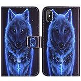 TienJueShi Wolf Book-Stand Cuir Housse Coque Etui Cas Couverture Protecteur Case Cover Skin pour Logicom Le Lift 5.72 inch