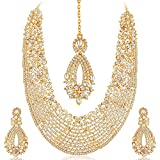#7: Sukkhi Gold Plated Australian Diamond Choker Necklace With Drop Earring & Mangtika Jewellery Set For Women