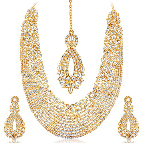Sukkhi Gold Plated Australian Diamond Choker Necklace With Drop Earring & Mangtika For Women