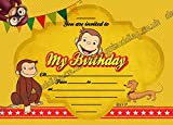 10 x Curious george monkey Birthday Party Invitations Pack thick cards + FREE Envelopes