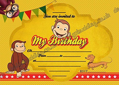 Monkey Geburtstag Party Einladungen Pack Dick Karten + kostenlose Umschläge (Monkey Einladungen)