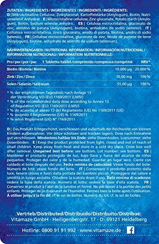 ZUsammensetzung: 10000 ug Biotine 10 mg Zink und 15 ug Selen