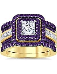 Silvernshine Enhancer Ring Guard & Engagement Ring Set Yellow Gold Plated Amethyst Sim Diamonds