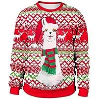 LEvifun Drucken Bluse Schulterfrei Tops Fröhliche Weihnachten Christmas Damen Kapuzenpullis Frauen Hemden Lose Pullover Mantel Sweatshirts Blusen Outerwear T-Shirt Kapuzenpullover