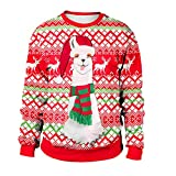 Geili Weihnachts Pullover Damen Alpaka Gedruckt Santa Sweatshirts Christmas Sweater Frauen Rundhals Langarm Oversized Weihnachten Pulli Bluse Festlich Kostüm M-2XL