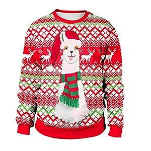 YWLINK Damen Weihnachten Plus GrößE Niedlich Alpaka Gedruckt Sweatshirt Tops Bluse