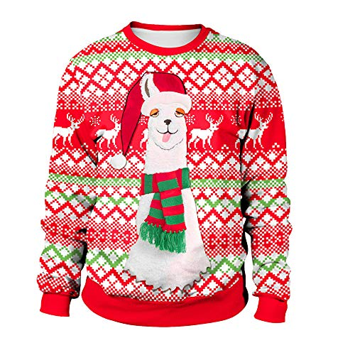 (JURTEE Weihnachtskostüme Damen Fröhlich Weihnachten Übergröße Pullover Alpaka Gedruckt Sweatshirt Tops Bluse Weihnachtsbluse)
