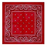 BOOLAVARD 100% Baumwolle, Paisley Bandana Bandana Headwear / Haar-Band-Schal-Ansatz-Handgelenk-Verpackungs-Band-Kopf-Bindung (Schwarz, Rot, Blau, Weiß, etc.) 60+ Stile (41 # Red)