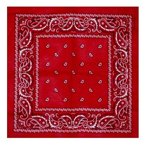 Boolavard Nationale Baumwolle Paisley Bandana Doppelseitige Leiter Verpackungs-Schal-Armband (Rot) (Bandana Klassisches)