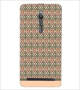 PrintDhaba Heart Pattern D-1598 Back Case Cover for ASUS ZENFONE 2 (Multi-Coloured)