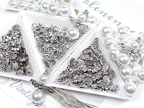DIY Set für 30 Perlenengel Schutzengel in weiß für Anfänger Hochzeit Konfirmation Geburtstag oder Taufe Geschenk Gastgeschenk Kommunion