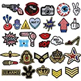 Patch Sticker, Tatuer 30PCS Pegatina de Parche Costura de Apliques, Parche de Bordado, Cosecha de Cresta para Chaquetas Mochilas Jeans Clothing T-shirt DIY - No Rendom