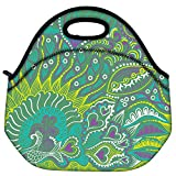 Snoogg Abstract Seamless Texture With Fish Travel Outdoor Carry Lunch Bag Picnic Tote Box Container Zip Out Removable Carry Lunchbox Handle Tote Lunch Bag Food Bag For School Work Office