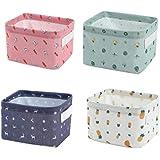 Cratone Lot de 4 Mini Panier de Rangement en Tissu,Pliable Carré Toile Tissu,Boîte de Rangement Style Ferme,Container Organis