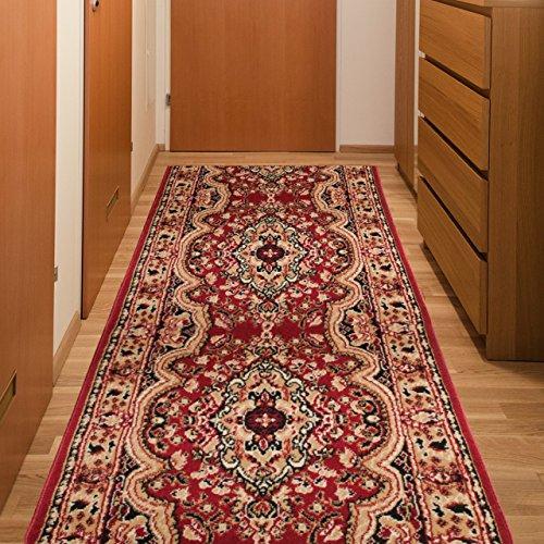 Tapiso Atlas Läufer Flur Kurzflor Teppich Wohnzimmer Küche Klassisch Blumen Floral Streifen Muster Traditionell Rot Beige ÖKOTEX 140 x 160 cm