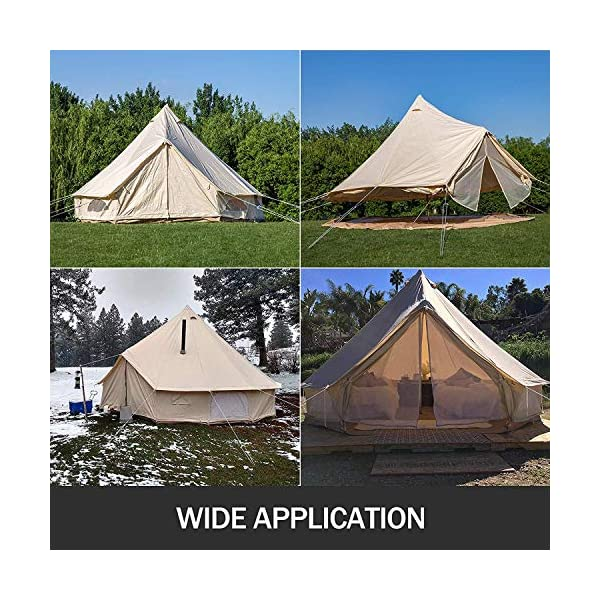 BuoQua Bell Tent Canvas Tent with Stove Hole Cotton Canvas Tents Yurt Tent for Camping 4-Season Waterproof Bell Tent for Family Camping Outdoor Hunting 6