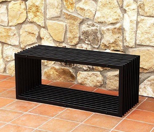 Bank D-Stil Modern Gartenbank 11671 Sitzbank 100cm aus Metall Eisen Blumenbank