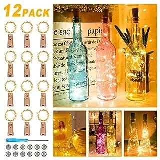 【12 Stück】20 LEDs 2M Flaschen Licht Warmweiß, Nasharia Lichterkette für Flasche LED Lichterketten Stimmungslichter Weinflasche Kupferdraht, Batteriebetriebene für Flasche DIY, Dekor,Weihnachten