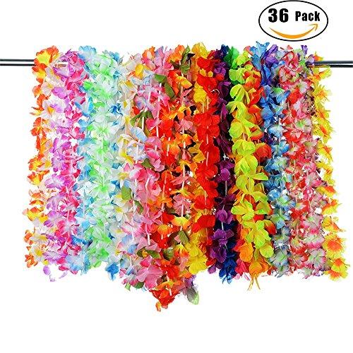 LouisaYork Hawaiian Luau Party, Tropischen Seide Blume Lei Thema Partyzubehör Kränzen Hawaiian gerüschte Leis Halskette Tropical Events Supplies für Urlaub Hochzeit Geburtstag Dekorationen