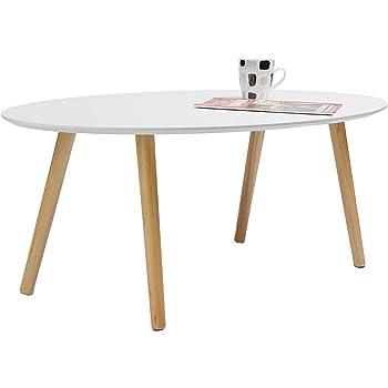 Dunord Design Couchtisch Beistelltisch Stockholm Weiss 115cm 70er