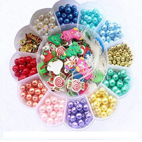 Q7S Multi Farbe Schmuck Studio Perlen,Perlen für Schmuck,Glas Runde Perlen für Mädchen,Perlen für Kinder,Perlen Halterung,Perlen Charms,Packung mit 500 Stück