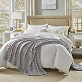 Serta Damask Stripe Blanket,Gray,King