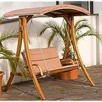 Diseño oscilación del pórtico del jardín columpio hamaca de alerce de madera con techo modelo RIO de AS-S