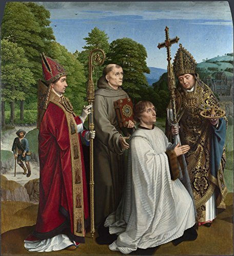 The Museum Outlet – Gerard David – Canon Bernardijn Salviati and Three Saints, Stretched canvas Gallery Wrapped. 29,7 x 41,9 cm