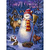 Bits and Pieces - 1000 Piece Glow in the Dark Puzzle - Night Watch Snowman by Artist Liz Goodrick Dillon - Winter Holiday - 1000 pc Jigsaw