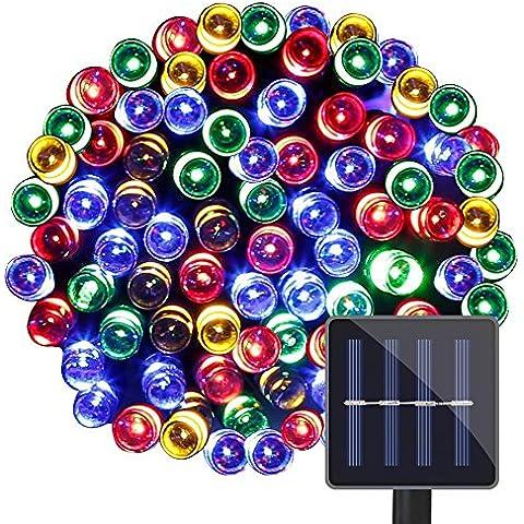 LE corda a LED, RGB Impermeabile 15m 100LEDs 1.2 V, pannello Solare, (Vaso Albero Di Natale)