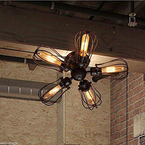 Retro Weinlese-industrielle 5 Birnen-hängende Lampe Steampunk Decken-Kronleuchter-Licht