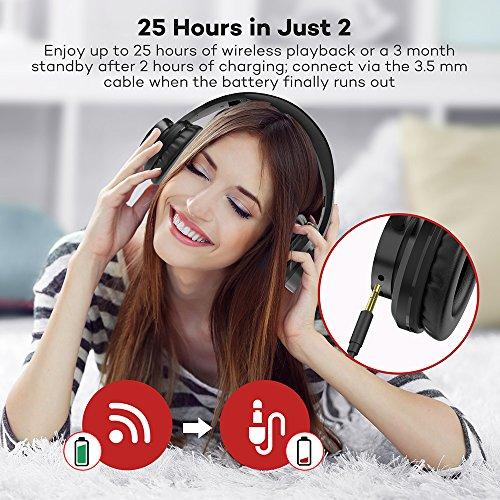 TaoTronics Bluetooth Kopfhörer Over Ear Headset 25 Stunden Spielzeit, Einstellbar mit CVC 6.0 Mikro, Zusammenklappbares Design mit on-Ear-Steuerung - 3