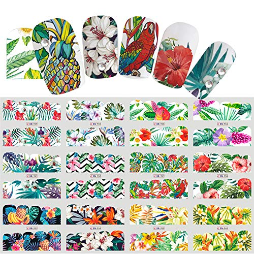 nstera Leaf Flower Design Water Transfer Nail Art Stickers Manicure Decal - 1# ()