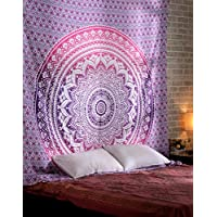 RAJRANG BRINGING RAJASTHAN TO YOU Pink Room Décor Wall Hanging Decorative Hippie Ombre Mandala Tapestry Bohemian Indian Dorm Tapestrys Floral Tapestries