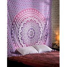 Ombre Tapisserie Indienne Rose Decoration Murale Hippie Bohème Mandala Chambre Deco Tissu Bohemian Hippy Déco Mural By Rajrang