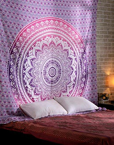 Hippie indisch Mandala Wandteppich Ombre Rosa Tapisserie Boho Baumwolle Wandbehang Groß Tapestry Von Rajrang