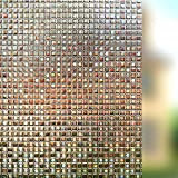 Rabbitgoo Sichtschutz Fensterfolie Statisch Dekorfolie Sichtschutzfolie Anti-UV 3D Fensterschutzfolie Ohne Klebstoff Selbsthaftend Dunkelbraun Karo Muster 44.5 * 200cm für Privatleben Wohnung Büro