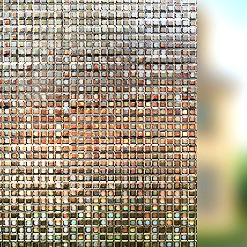 Rabbitgoo Sichtschutz Fensterfolie Statisch Dekorfolie Sichtschutzfolie Anti-UV 3D Fensterschutzfolie Ohne Klebstoff Selbsthaftend Dunkelbraun Karo Muster 44.5 * 200cm für Privatleben Wohnung Büro (Karo Bad)