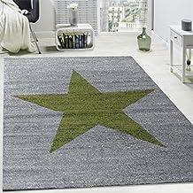 Alfombra De Diseño Con Estampado Moderno De Estrella De Velour Corto Mezclada En Verde Y Gris, tamaño:160x220 cm