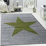 Paco Home Designer Teppich Stern Muster Modern Trendig Kurzflor Meliert In Grün Grau, Grösse:160x220 cm