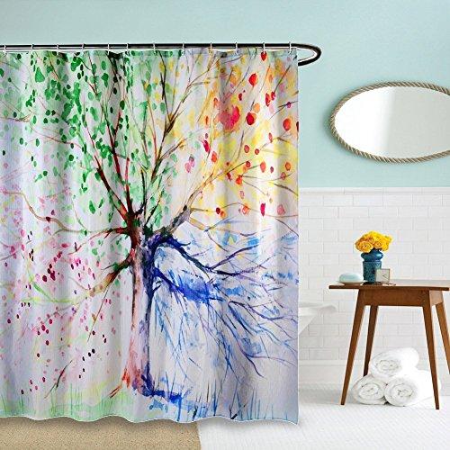 Minglitai – Cortina de ducha impermeable, cortina de baño resistente al moho, cortina de tela de poliéster decorativa con estampado de pinturas artísticas 3D, 180 x 180 cm de largo con 12 ganchos