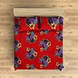 EIN SOF Cotton Double Bedsheet King Size (90x100 Inches) With 2 Pillow Covers Combo Set, Double Bed, King Size Cotton Bedsheet,3D Printed Technology, Floral Design (Cherry Red, 150 TC)
