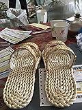 XING GUANG Chaussures De Paille à La Main Maïs Dumplings Santé Environnementale Déodorant Hommes Et Femmes Pantoufles De Mode Chaussures De Plage,Beige(40)