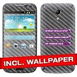 """Samsung Galaxy S4 Mini I9190 Skin """" CARBON ANTHRAZIT """" Sticker Handy Folie Aufkleber + Wallpaper, Schutzfolie fuer Cover"""